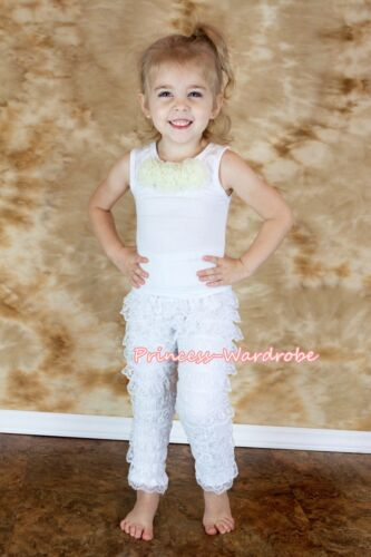 Girl Long Sleeve Pure White Lace Ruffles Petti Lace Legging Pants Romper 3-8Year