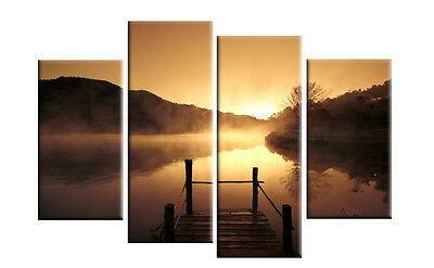 4ft wide+ NIGHT SUNSET MISTY LAKE CANVAS 4 PANEL SPLIT PICTURES WALL ART FY35