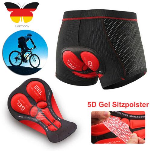 Herren Radunterhose Fahrradhosen mit 5D Sitzpolster Fahrrad MTB Unterwäsche Kurz