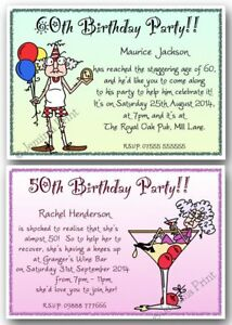 40th 50th 60th 70th 80th 90th Personalised Birthday Party Invites