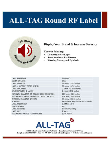2,000 RF 8.2MHz Label Round Checkpoint® Compatible 30mm Size w//Red Warning Print