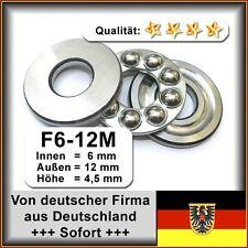 4 Stk. Axial-Llager F6-12M - 6x12x4,5, Da=12mm, Di=6mm, Höhe=4,5mm