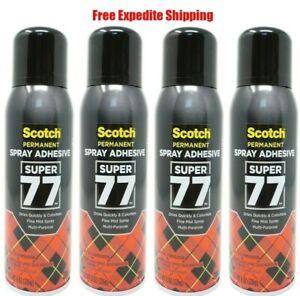 Scotch 3M Super 77 Multi Purpose Permanent Spray Adhesive Glue, 8 oz., 4 Pack