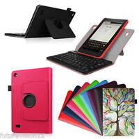 Fire 7 5th 2015 Amazon Kindle 360 Rotating Leather Case Cover Bluetooth Keyboard