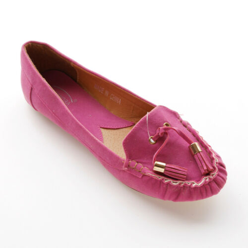 WOMANS FLAT SUEDE BALLERINA SHOES FUCHSIA PINK BY CASANDRA SIZE 3 4 5 6 8