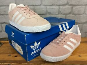 Adidas-Femmes-UK-5-1-2-Eu-38-2-3-Daim-Gazelle-Rose-Or-Blanc-Baskets