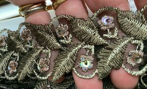 """Vintage Embroidered Moss Mauve Silver Flowers Leaves Beaded 69"""" One Piece Trim"""