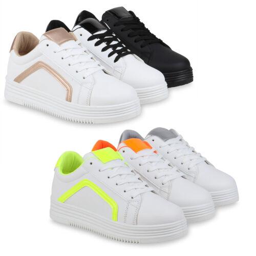 Damen Plateau Sneaker Sportliche Schnürer Flache Freizeit 832446 Schuhe