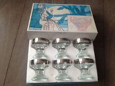 Vintage 6 x Crystal Liquor Glass Platinum Plated Hand made Ingrid Hütte Germany