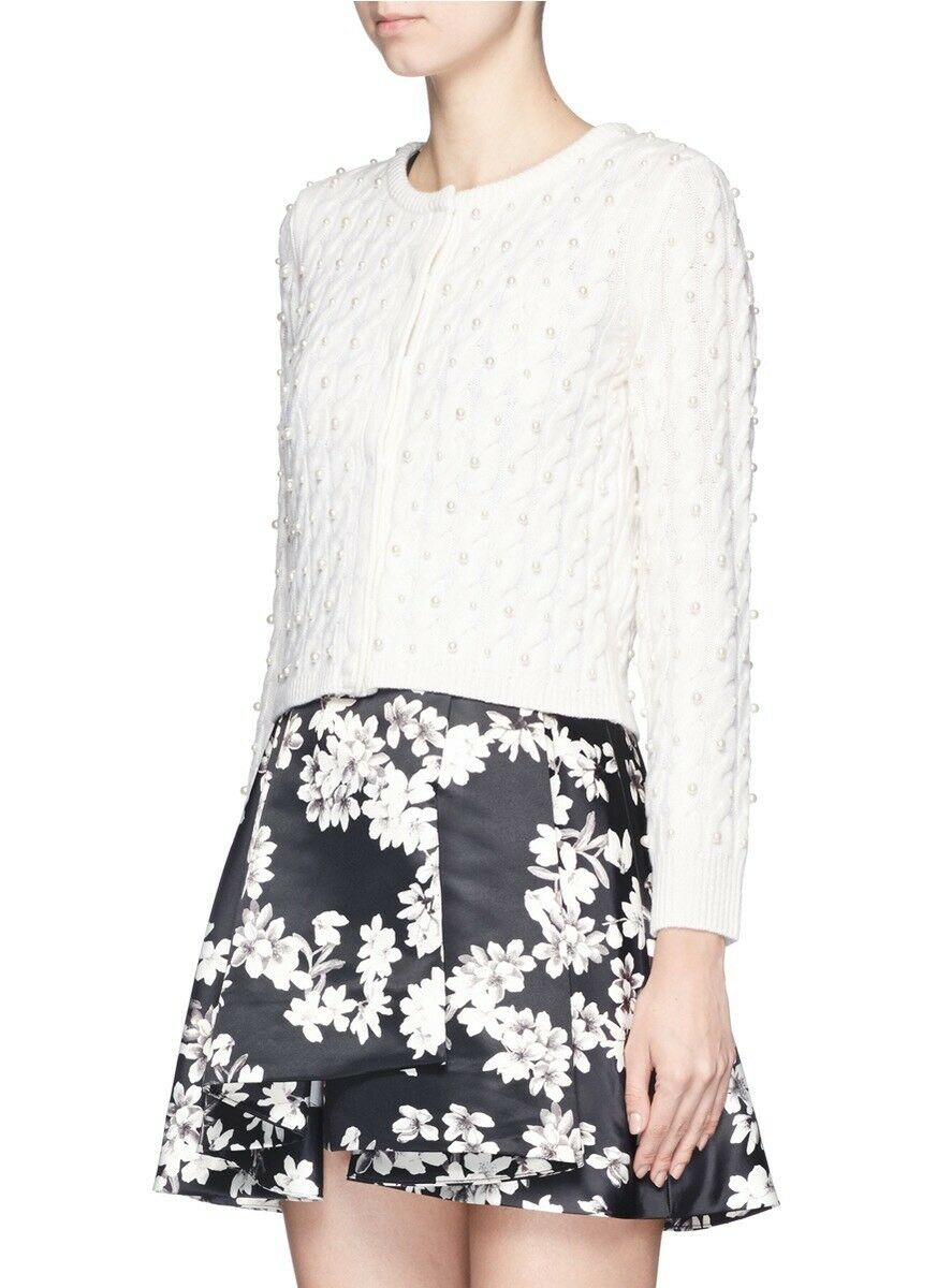 Alice + Olivia Ozzie Pearl Cardigan Embellished Cable Sweater Size M NWT
