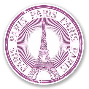 2 X París Torre Eiffel Pegatina de vinilo Laptop Viaje Equipaje Coche #6402