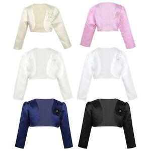 Kid-Girl-Long-Sleeves-Bolero-Jacket-Shrug-Short-Cardigan-Sweater-Dress-Cape-Coat