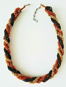 Vintage TWISTED Multi-Strand Black Brown Gold Beaded Necklace *EUC*