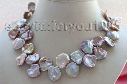 """18/"""" Véritable 20 Mm Naturel Lavande reborn Keshi pétale de collier de perles 14k #f1938!"""