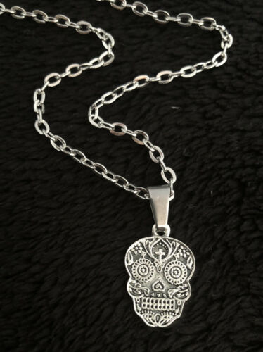 """Sugar Skull Necklace day of the dead silver CHAIN 18/"""" Mexican Skull gothic Dotd"""