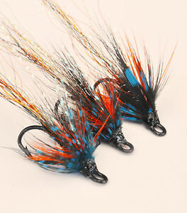 Cascade x 3 salmon flies 10 and 12 doubles and trebles sizes 8