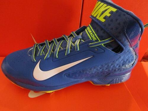 Nike Air Huarache Pro Mid Metal Baseball Cleats sz 14 Blue / Volt