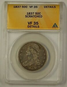 1837-US-Capped-Bust-Half-Dollar-Silver-Coin-50c-ANACS-VF-35-Details-Scratched