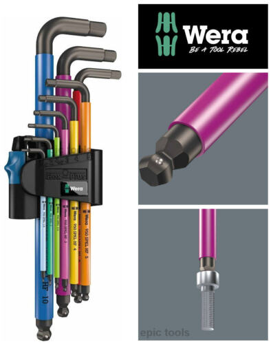 WERA HOLD FUNCTION Hex-Plus 9 Pce Multi Colour Ball-End Hex Allen Key Set 022210