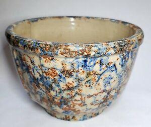 Antique-Vintage-Spongeware-Paneled-Bowl-Blue-amp-Brown-6-Inch