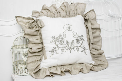 Flora Cappuccino brodé Chaise Taie d/'oreiller shabby 42x42 volant X 4 pages Housse