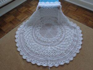 New-White-Hand-Crochet-Baby-Shawl-40-034-Ribbon-Circular-Round-Christening-Baptism