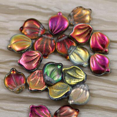 mm CZECH GLASS WAVY FLAT CUSHION//RECTANGULAR FLAG BEADS 20 8PCS