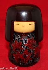 "Japanese Creative Sosaku Wooden Kokeshi Doll Maple Leaves Signed 13cm 5 1/8"""