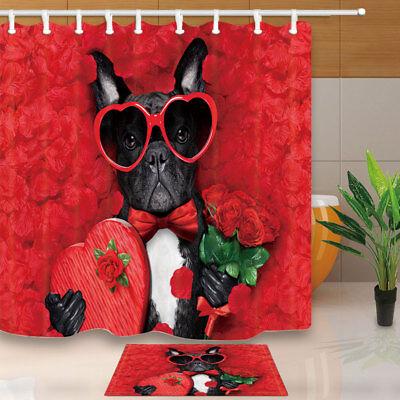 Valentines French Bulldog Dog In Love Bathroom ShowerCurtainFabric/&12Hook