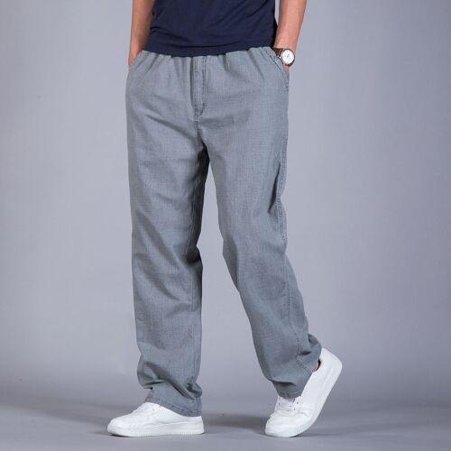 Oversize Mens Straight Pants Baggy Casual Slacks Trousers Linen Cotton Thin