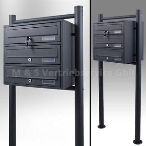 3er-Briefkastenanlage-Grau-Postfach-3-fach-Standbriefkasten-Pulverbeschichtet