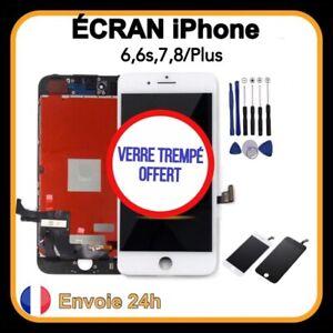 Ecran LCD iPhone 6 6s 7 8 /Plus Noir Blanc Vitre Tactile sur Châssis + OUTILS