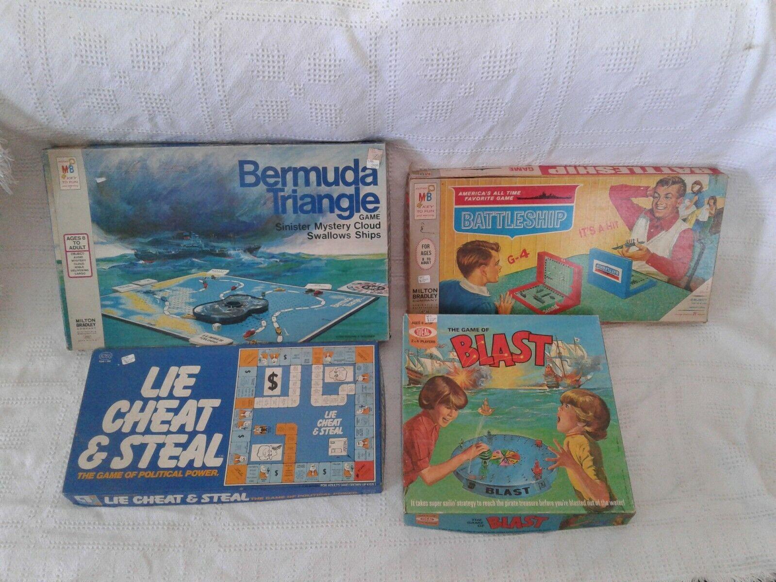 Lot of 4 Board Games Bermuda Triangle Lie Cheat & Steal Battleship  Game Blast