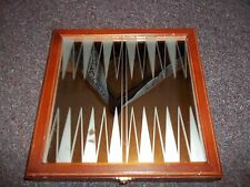 Backgammon Game Set Mirrored Glass Board Wood Storage Box Frosted Clear Marbles