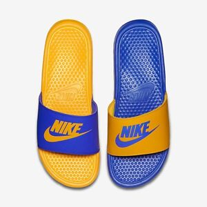 376ec6976 Buy blue and yellow nike slides