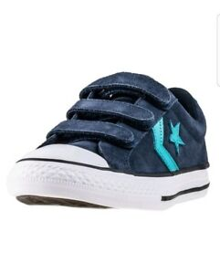 bb2ac6782118 Converse Star Player Ev 3v Ox Kids Trainers Navy Teal New Shoes ...