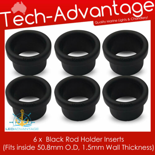 """Details about  /6 X 1.5MM WALL BLACK 2/"""" FISHING ROD HOLDER NYLON INSERT PROTECTORS 50.8MM O.D"""