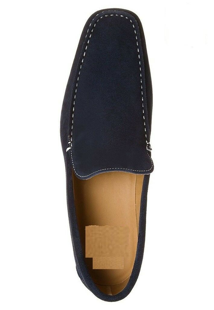 MEN NEU HANDMADE SUEDE LEATHER LOAFERS Blau FORMAL CASUAL FASHION Schuhe