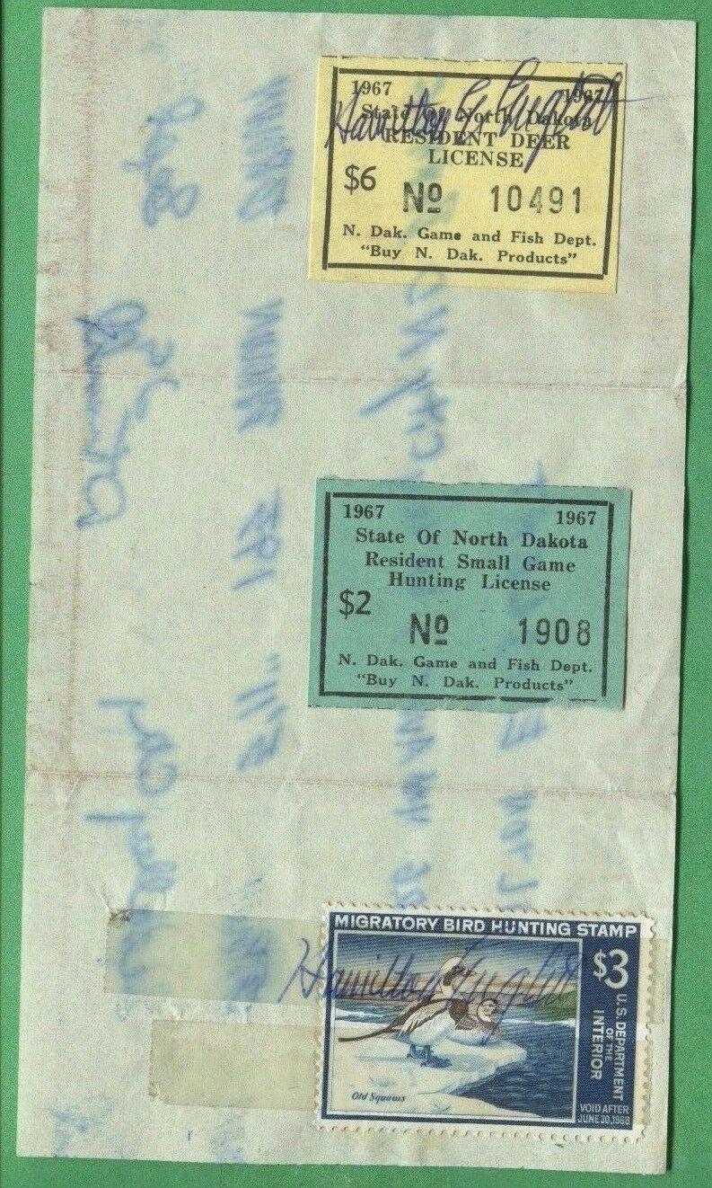 NORTH DAKOTA 1967 Resident General Hunting License RW34 +  1 Stamp -519
