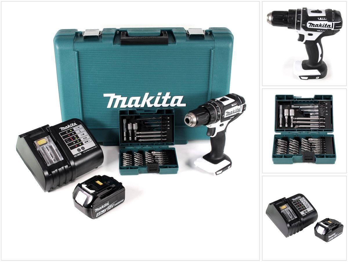 Makita DHP 482 SM1 18V Li-Ion Schlagbohrschrauber + 4,0 Ah Akku + Lader +Bit-Set