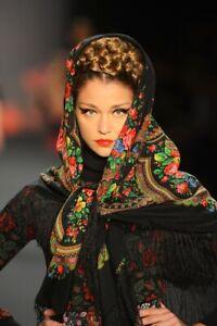 Pavlovo-Posad-russe-Chale-hiver-100-Laine-echarpe-chaude-chapeau-femme-foulard-cadeau
