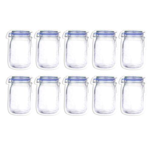 5//10//15//20Pcs Reusable Snacks Food Storage Bags Jar Zipper Saver Bag Leakproof