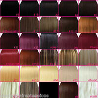 "FULL HEAD Clip In Hair Extensions 15"" 18"" 20"" 22"" 24"" Straight  ANY COLOUR STYLE"