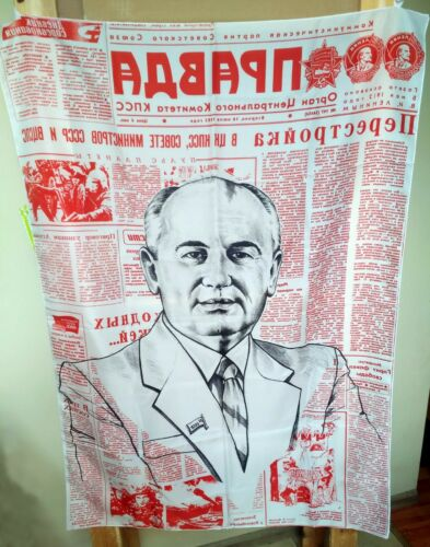 Gorbachev Pravda Flag Perestroika Glasnost Communist Russian USSR Propaganda
