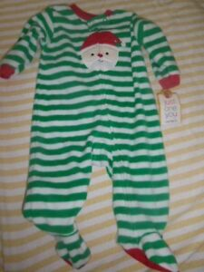 47b4478713eb nwt Carters fleece Christmas Santa footed pajamas baby boy or girl ...