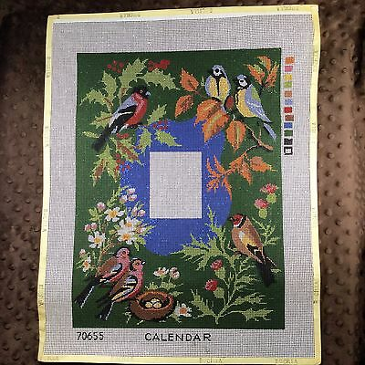 "Bucilla Needlepoint Canvas Calendar Frame Birds Flowers 12-Count Mesh 16x12"" NOS"