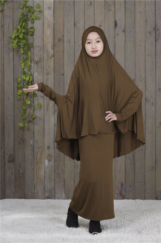 Muslim Kids Girls Jilbab Abaya Long Hijab Maxi Dress Islamic Prayer Sets Clothes