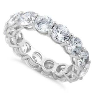 Full-Eternity-Round-Cubic-Zirconia-Genuine-925-Sterling-Silver-Ring-All-Sizes