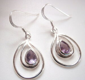 Amethyst Hammered Teardrop 925 Sterling Silver Dangle Drop Earrings Square