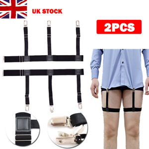 Hommes-T-Shirt-Porte-jarretelles-Sejour-Support-Elastique-Jarretiere-with-Non-slip-Verrouillage